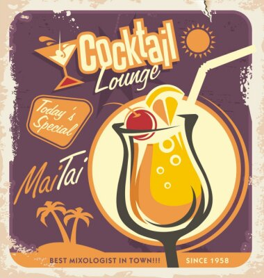 Plakat Retro poster design for one of the most popular cocktails