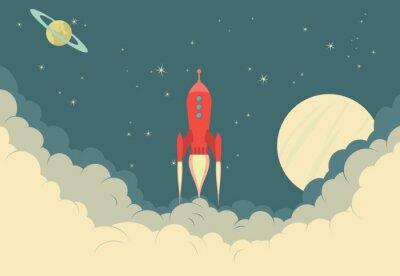 Plakat Retro Rocket Spaceship