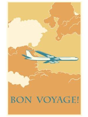Plakat Retro samolot Bon voyage