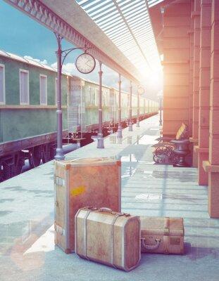 Plakat retro stacja kolejowa