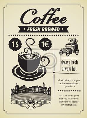 Retro transparent z filiżanką kawy i rocznika samochodu