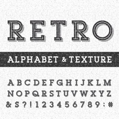 Plakat Retro wektor czcionki Alfabet o udzielenie tekstury nakładki. Serif litery, liczby i typu symbole na udzielenie porysowany tle. Wektor typografii Zdjęcie na etykiety, nagłówki, plakaty itd.