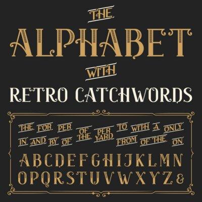 Plakat Retro wektorowych czcionek alfabetu z hasłami. Ozdobne litery i hasłami the, za, a, z, o, o, itd. Grafika wektorowa typografii dla etykiety, nagłówki, plakaty itp