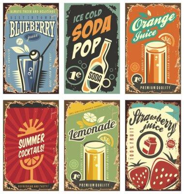 Plakat Retro wystrój ściany z soków i napojów zestaw