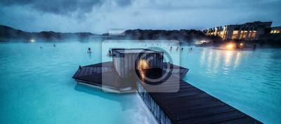 Plakat Reykjavik, Iceland - July 4, 2018: Beautiful geothermal spa pool in Blue Lagoon in Reykjavik. The Blue Lagoon geothermal spa is one of the most visited attractions in Iceland.