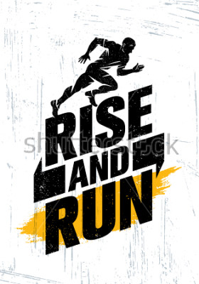 Plakat Rise And Run. Maraton Sport Wydarzenie motywacja cytat plakat koncepcja. Aktywny styl życia Typografia ilustracja na tle grunge z tekstury