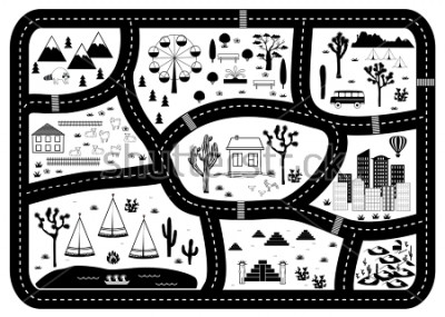 Plakat Road, Mountains and Woods Adventure Map. Kids play carpet or poster with native americans tribal elements. Trendy black and white Scandinavian Style. Vector illustration