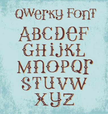 Plakat rocznik ekscentryczne ręcznie rysowane czcionki z mieszanymi górnych i małych liter
