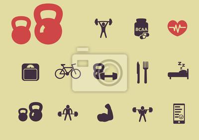 rocznik płaskim fitness i zdrowia ilustracji ikon wektorowych, eps10