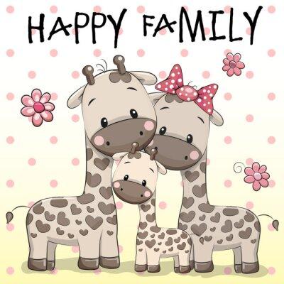 Plakat Rodzina Trzy żyrafy