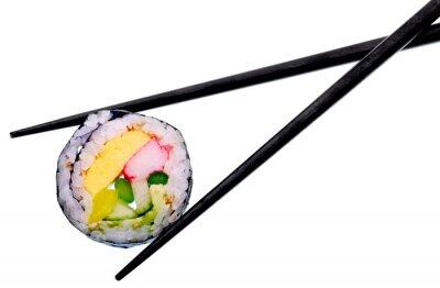 Plakat Roll Sushi z czarnymi pałeczkami na białym tle