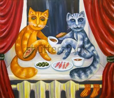Plakat Romantyczna kolacja kota. Kot i kotka razem jedzą na parapecie. Zwierzęta we wnętrzu mieszkania. Obraz olejny. Ręcznie robione dzieła sztuki.