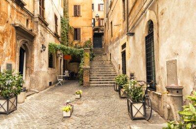 Plakat romantyczna uliczka w starej części Rzymu, Włochy
