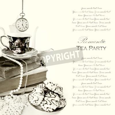 Plakat Romantyczny angielski godzina piąta Tea Party Tło z rocznika zegarek kieszonkowy i słodycze