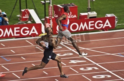 Plakat ROME . May 31: Usain Bolt runs and wins 100 m speed race at Golden Gala in the Olympic Stadium on May 31, 2012 in Rome