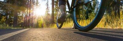 Plakat Rower na drodze asfaltowej oświetlonej przez słońce.