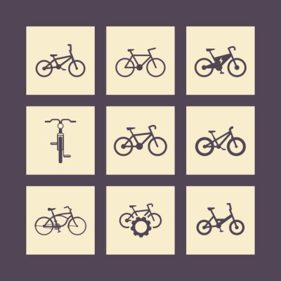 Plakat rowerowe, jazda na rowerze, rower, rower elektryczny, rower tłuszczu kwadratowe ikony