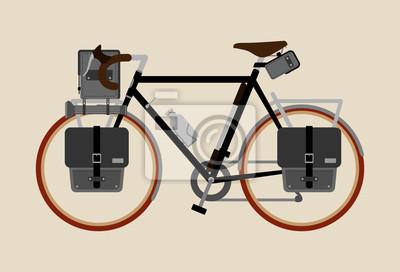 Rowerowy wektorowy ilustracyjny graficzny rocznika roweru kolarstwo Krajoznawcza czarna czerwień
