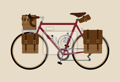 Rowerowy wektorowy ilustracyjny graficzny rocznika roweru kolarstwo krajoznawcza czerwień