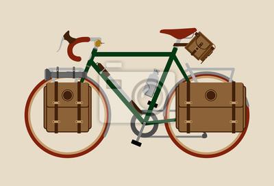 Rowerowy wektorowy ilustracyjny graficzny rocznika roweru kolarstwo Objeżdżać ciemnozielony