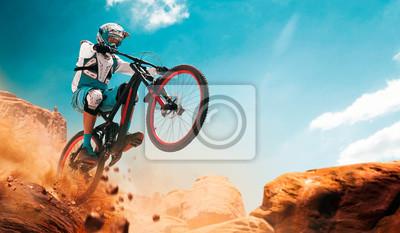 Plakat Rowerzysta, jazda na rowerze. Spadek.
