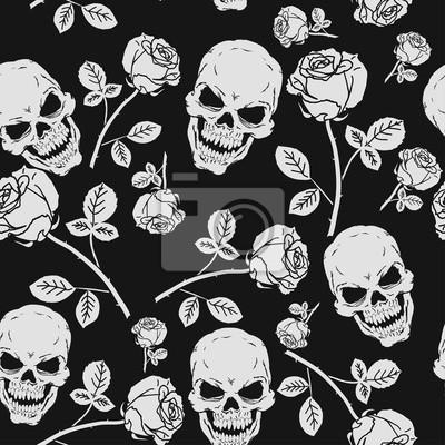 Plakat Róże i czaszki bez szwu deseń