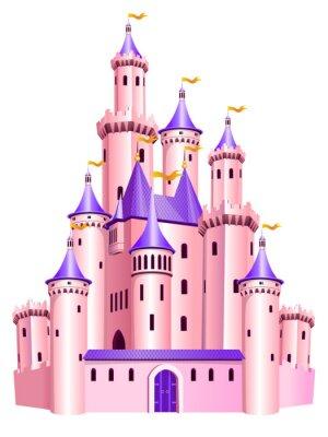Plakat Różowa księżniczka zamek.