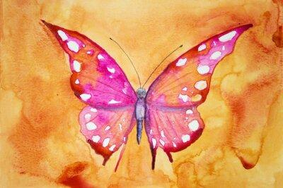 Plakat Różowy motyl z pomarańczowym tle. Technika wklepywanie daje miękką efekt ogniskowania w wyniku zmienionego chropowatość powierzchni papieru.