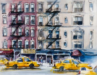 Plakat Ruchliwa ulica w Nowym Jorku. Szkic akwarela
