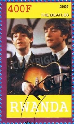 Plakat Rwanda - OKOŁO 2009: znaczek pocztowy drukowane w Republice Rwandy pokazując The Beatles, circa 2009