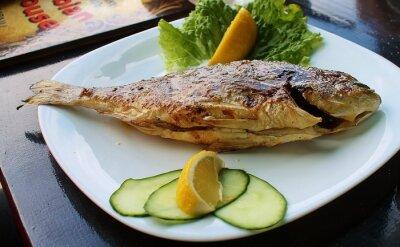 Plakat ryba z grilla