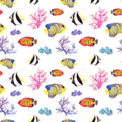 Plakat Ryby i muszla. Powtarzając bez szwu deseń. Akwarela