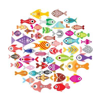 Plakat Ryby okrągłe ikony