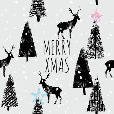 Plakat rysowane ręcznie zimowy las modny wzór