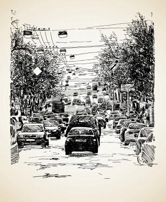 Plakat Rysowania linii strony sztuki kompozycji ruchu miejskiego