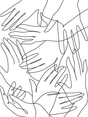 Plakat Rysowanie linii sztuki wielu rąk