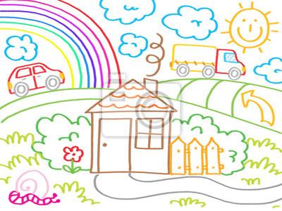 Plakat Rysunki Dzieci Z Dzieci Zwierząt Przyrody Obiektów