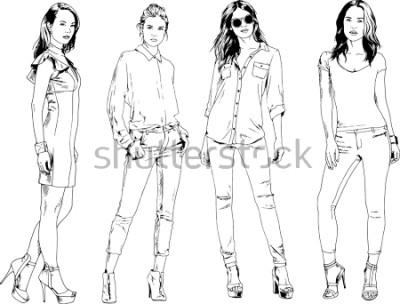 Plakat rysunki wektorowe na temat pięknej szczupłej dziewczyny sportowy w ubranie w różnych pozach malowane ręcznie szkic tuszem bez tła