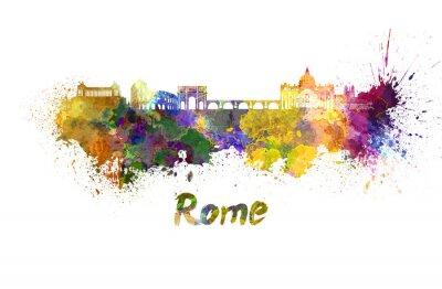 Plakat Rzym skyline w akwareli