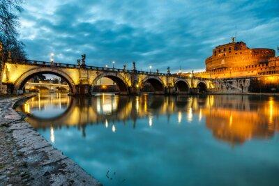 Plakat S.Angelo most i zamek, Rzym, Włochy