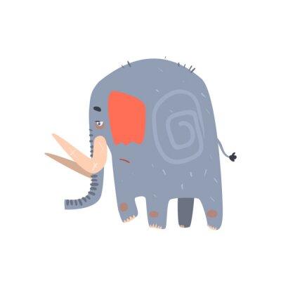 Plakat Sad Blue Elephant Walking