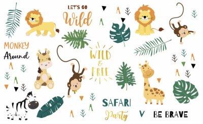Plakat Safari object set with monkey,giraffe,zebra,lion,leaves. illustration for logo,sticker,postcard,birthday invitation.Editable element