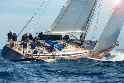Plakat sail boat sailing in regatta