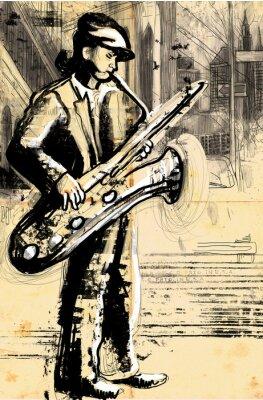 Plakat saksofonista (powiększenie rysunek odręczny - oryginalna)