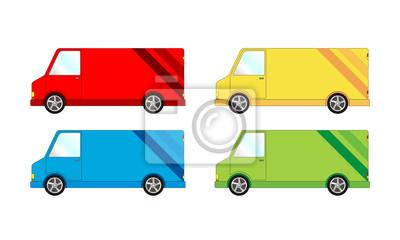 Plakat Samochod dostawczy transporter - paczka, WEKTOR