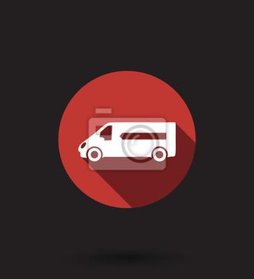 Samochód dostawy płaskim ilustracji wektorowych ikon, eps10, łatwe do edycji
