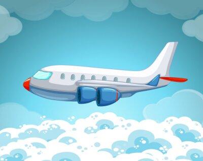 Plakat Samolot latający na niebie