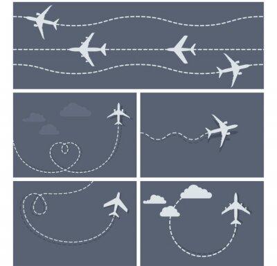 Plakat Samolot Lot - przerywana śladu samolotu, w kształcie serca, a lo