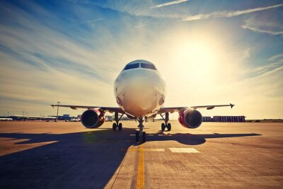 Plakat Samolot na wschód słońca