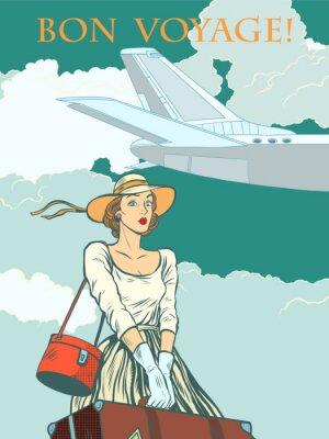 Plakat Samolot pasażerski dziewczyny Bon voyage